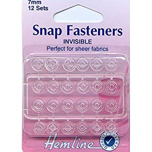 Hemline H422 | Clear Invisible Nylon Sew On Snap Fasteners | 7mm | 12 Sets:Carsblog