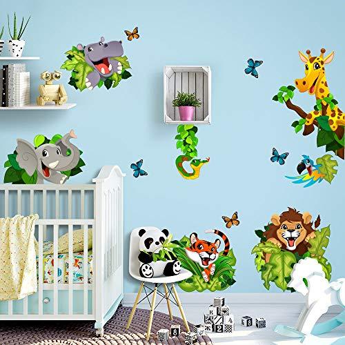 R00434 Adesivi Murali Soffice Effetto Tessuto Animaletti Giungla Decorazione Muro Bambino Neonato Nursery Cameretta Asilo Nido Carta da Parati Adesiva