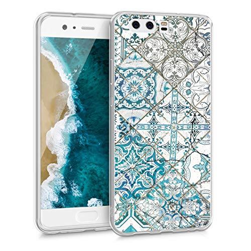 kwmobile Hülle kompatibel mit Huawei P10 - Handyhülle - Handy Case Marokkanische Fliesen einfarbig Blau Grau Weiß