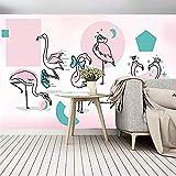 XHXI Pared de fondo de TV Papel tapiz de pájaro rosa Sala de estar Fondo de TV Papel de pared Sin co Pared Pintado Papel tapiz 3D Decoración dormitorio Fotomural sala sofá pared mural-430cm×300cm