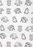 KRACHT Desde 1810 Toalla de Cocina Estampada de Medio Lino, Juego de 2, Gatos en línea, 27 x 20 Pulgadas, Suave, Absorbente, antiestático y Resistente a Las Manchas 50/50 Lino y Mezcla de algodón