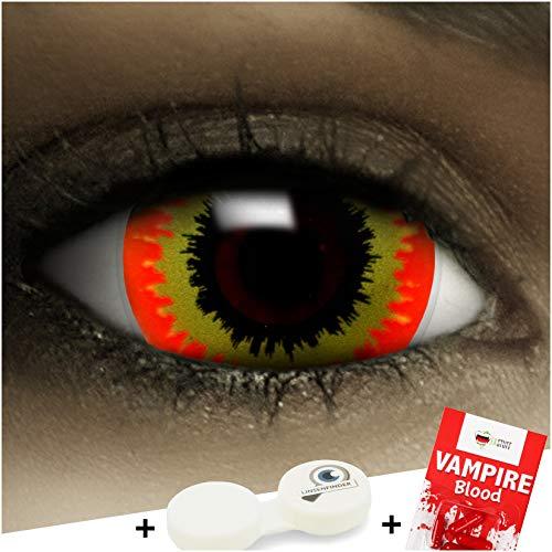 FXCONTACTS Farbige Kontaktlinsen Ork, in rot und gelb inklusive Kunstblut Kapseln und Kontaktlinsenbehälter, 1 Paar Linsen (2 Stück) weich, ohne Stärke