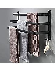 SDYBGRF Handdoekhouder zwart met haak, handdoekhouder om te lijmen, muur badkamer handdoekhouder, handdoekstangen voor badkamer keuken, zelfklevende lijm aluminium 50 cm