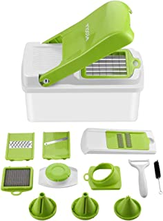 Vegetable Slicer Dicer Food Chopper Kitchen Cutter, WEOOLA Cheese Grater with Stainless Steel Adjustable Multi Blades and Storage Container for Onion Potato Tomato Fruit Extra Peeler Included