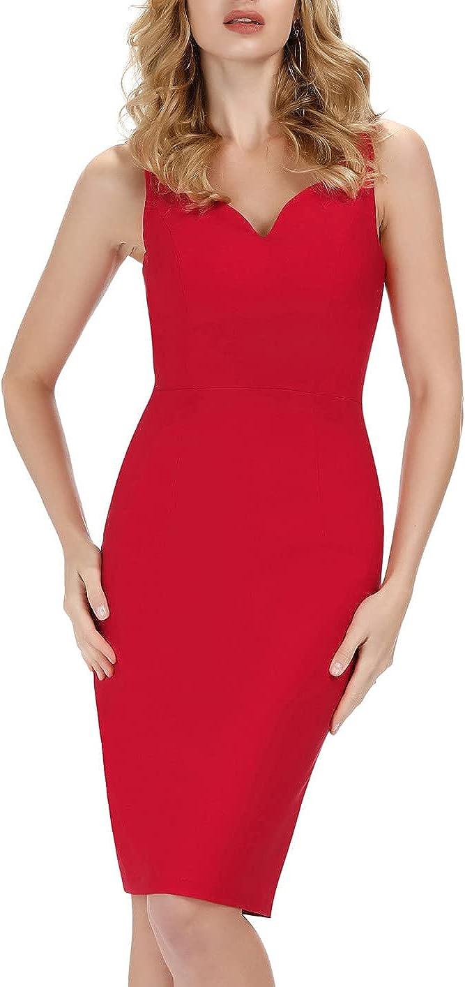 GRACE KARIN Women's Bodycon Pencil Dress Sleeveless V-Neck Hip-Wrapped Dress