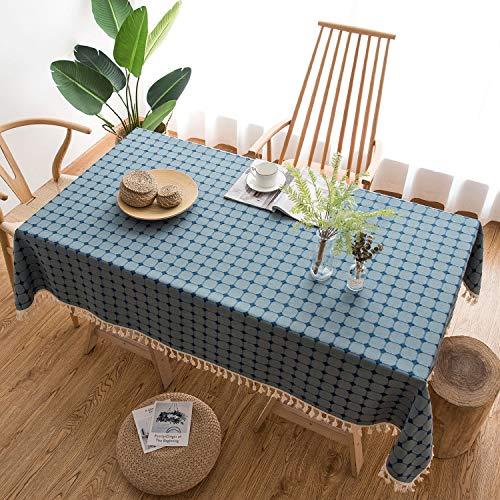HB life Tischdecke Tischtuch Tischwäsche Tischdekoration Tafeltuch hochwertig Karierte Quaste aus Baumwolle und Leinen Pflegeleicht Garten Zimmer Tischdekoration (140x 220cm, Navy blau)