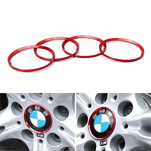iJDMTOY (4) Anodized Red Aluminum Wheel Center Cap Surrounding Ring Decoration Trims Compatible With All BMW 68mm Center Caps