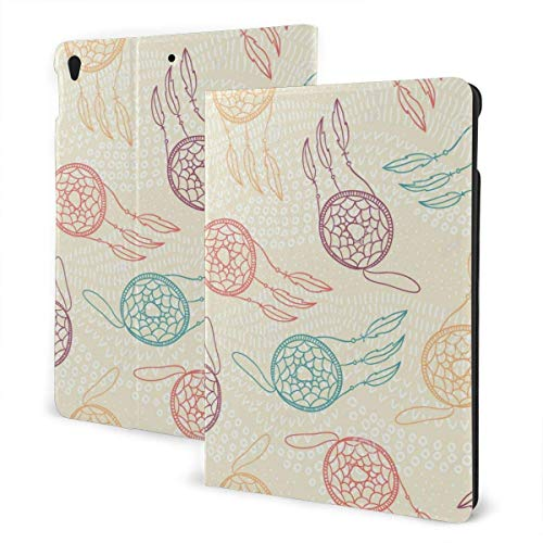 GOSMAO iPad Case Fit iPad 7th Generation 2019, iPad 10.2 Case Ethnic Feather Net PU Leather Business Cover with Stand Pocket and Auto Wake/Sleep for iPad 10.2'