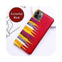 For iPhone 12 11 Pro Xr Xs Maxケース用の本革電話ケース for se 2020 6 6s 7 8 8 8 プラス牛革カラフルストライプカバー-Red-iPhone 6