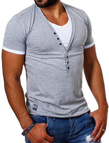 CARISMA Herren Double Look T-Shirt deep v-Neck tiefer V-Ausschnitt Slim fit Kontrast Optik Tee, Grösse:L, Farbe:Grau