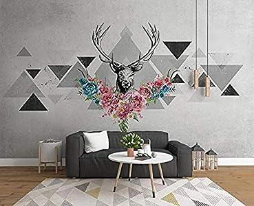 Papel pintado 3D Cabeza de ciervo Triángulo geométrico Bloque de colores Mural de pared simple Efecto 3D para mural papel pintado pared dormitorio de estar sala de estar fondo No tejido-400cm×280cm