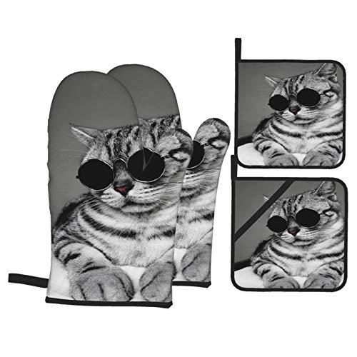 Juego de Manoplas y Porta ollas para Horno,Retrato de American Shorthair Grey Cat con Gafas de Sol de círculo,Cool Cat,Guantes y agarraderas Resistentes al Calor para cocinar,Hornear,Asar,Barbacoa