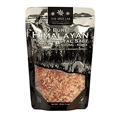 The Spice Lab Himalayan Salt - Coarse 1 Pound - Pink Himalayan Salt is Nutrient and Mineral Dense for Health - Gourmet Pure Crystal Kosher & Natural Certified
