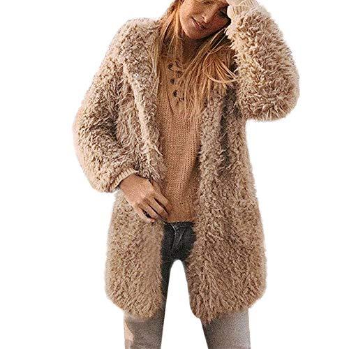 IZHH Damen Mantel WinterWarm Kunstwolle Mantel Jacke Revers Winter Oberbekleidung Warme Jacke Revers Winterjacke Outdoor Party Club Mantel Winterwear(Khaki,Large)