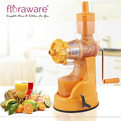 Floraware Plastic Fruit and Vegetable Juicer with Vacuum Locking System (Orange)