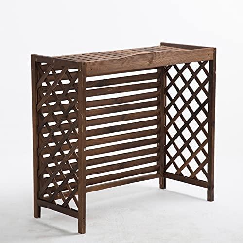 Cornice del condizionatore d'Aria Fiore stand di legno solido aria condizionata Rack, Rustico condizionatore d'aria copertura vegetale basamento di legno, con tende griglia di progettazione, di facile