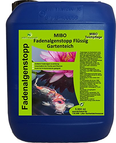 MIBO Fadenalgenvernichter Flüssig 5l für 150.000 Liter Teichwasser Fadenalgen Stopp