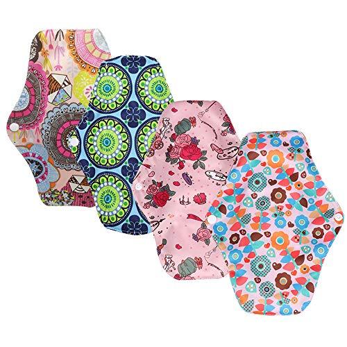 4 pcs 25.5cm Serviettes Hygiéniques Lavables Pads Menstruel Chiffon Serviette Menstruelle Réutilisables, Tissu de Bambou,Respirant, Hygiénique, non irritant Couleur Bonbon