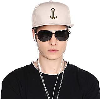 Men's 100% Cotton Fashion Snapback Hat Adjustable Hip Hop Hat Comfy Flat Bill Brim Baseball Cap Classic Trucker Cap