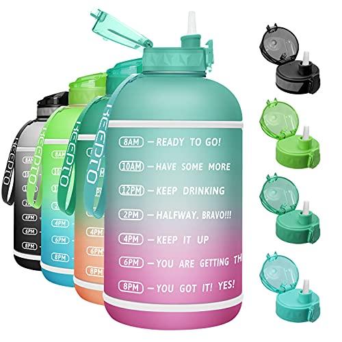KEEPTO Water Bottle mit Trinkhalm,3.78 L Breiter Mund Motivierende Wasserflasche mit Zeitmarkierungs-Tracker,BPA-frei Sport Trinkflasche für Fitness-Sportarten im Freien.06M01-A