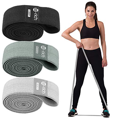 TeRich Long Resistance Bands Fabric Pull Up Assistance Bands 3 Pack Thick Cloth Stretch Bands for Exercise Fitness Loop Band Set for Leg Thigh Hip Squat Booty Full Body Workout amp Weight Training