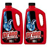 Drano Max Gel Drain Clog Remover and Cleaner for Shower or Sink Drains, Unclogs and Removes Hair, Soap Scum, Blockages, 80 oz- Pack of 2
