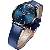 OLEVS Women's Watches Leather Band for Women Ladies Female Dress Waterproof Thin Minimalist Blue Dial Big Face Fashion Casual Slim Quartz Analog Wrist Watch with Date Calendar Classic Gifts Two Tone