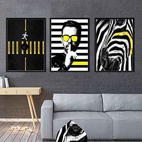 ZYQYQ Cuadros Decoración Salon Mural gafas de sol geniales para hombre lienzo en blanco y negro pintura cartel de paso de cebra para sala de estar 40x60cmx3 sin marco