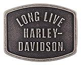 Harley-Davidson Men's Long Live Belt Buckle, Antique Nickle Finish HDMBU11609