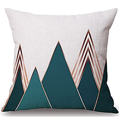 BLUETTEK Modern Simple Geometric Style Soft Linen Burlap Square Throw Pillow Covers, 18 x 18 Inches, (Green Mountain)