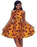 Shenbolen Women African Ankara Batik Print Traditional Clothing Casual Party Dress (Large, Yellow)