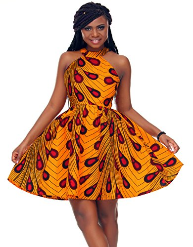Shenbolen Women African Ankara Batik Print Traditional Clothing Casual Party Dress (XX-Large, Yellow)