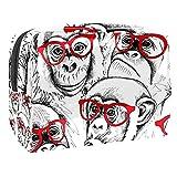 Funny Monkey Gorila Gafas Patern Bolsa de maquillaje Organizador de cosméticos Multifuncition Viaje Impermeable Neceser con Cremallera para Mujer
