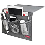 DuomiW Bedside Storage Organizer, Bedside Caddy, Table Cabinet Storage Organizer, TV Remote Control, Phones, Magazines, Tablets, Accessories (Grey)