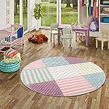 Maui Kids- Alfombra redonda para niños con cuadrados y estrellas, colores rosa pastel - 3 tamaños disponibles, 120 cm Rond