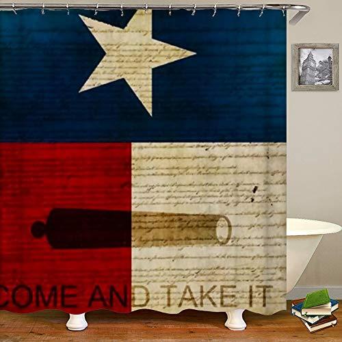 SARA NELL Shower Curtains Texas Flag Shower Curtain Fabric Waterproof Fabric Bathroom Curtain Set with 12 Hooks - 72 x 72 Inch