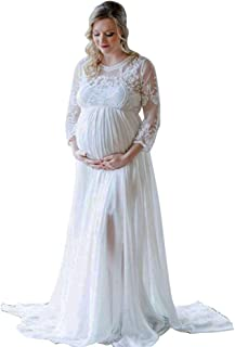 Women's Long Sleeve V Neck White Lace Chiffon Floral Maternity Gown Maxi Photography Dress