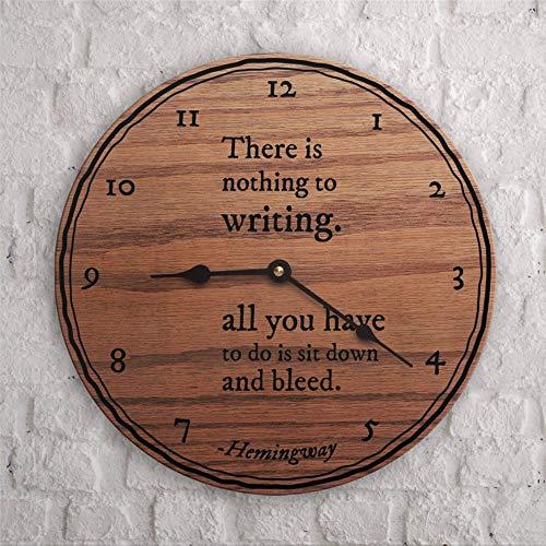 Reloj de pared redondo de madera decorativa con cita de Ernest, diseño de personas que aman escribir único de 30,5 cm redondo de madera para colgar en la sala de estar, cocina, dormitorio y de