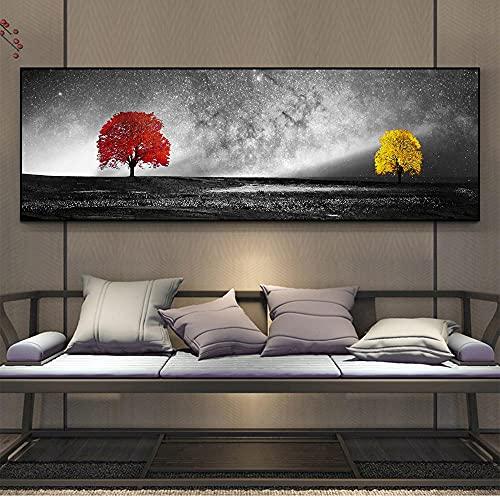 HXLZGFV Árbol Rojo y Dorado Fondo de Cielo Estrellado Pintura en Lienzo Arte de Pared Pop Moderno Dormitorio Sala de Estar Decoración de Pared Mural | 50x150cm | Sin Marco