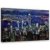 Feeby Leinwandbild XXL Hong Kong Wandbild Kunst Stadt Blau
