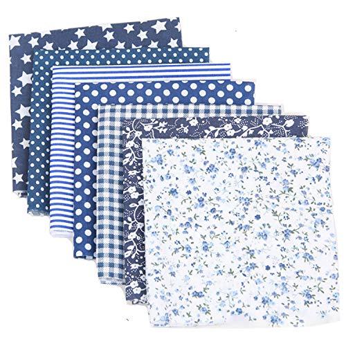 Cotton Craft Fabric Bundle Patchwork, 7pcs 20-inch Squares Quilting Sewing Patchwork Different Pattern Cloths DIY Scrapbooking Artcraft (Navy Blue)