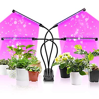 CLY LED Grow Light, 90W 120 LEDs 4 Head Timing Dimmable Levels Plant Grow Lights for Indoor Plants with Full Spectrum, Adjustable Gooseneck, 3/6/9/12H Timer, 5 Switch Modes