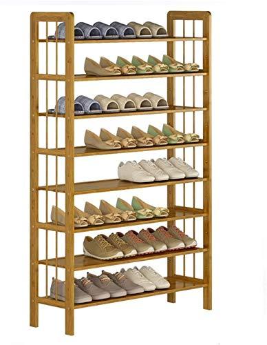 Pasteleras de zapatos Rack de zapatos de bambú de 8 capas Entrada de zapatos Rack de almacenamiento de almacenamiento Estante independiente Multifunción Espacio Ahorro de almacenamiento Estantería Org