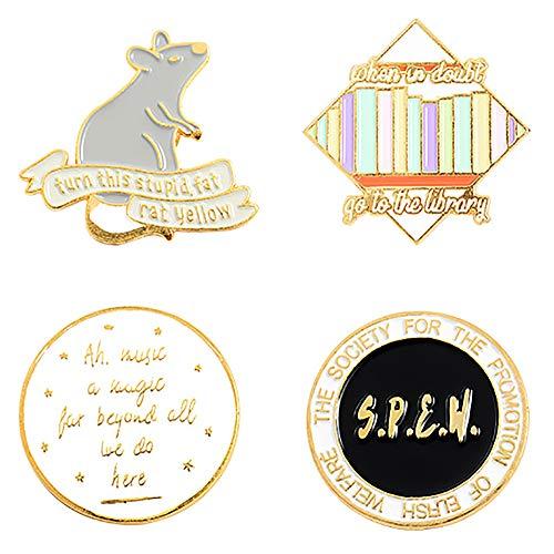 Hui Jin 4-teiliges Emaille-Anstecknadel-Set mit Harry-Potter-Muster, Anstecknadel für Damen, Kleidung, Dekoration