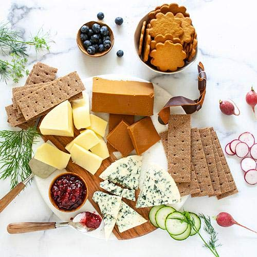 igourmet assortment of Scandinavian Gourmet Classics in Gift Basket - Box - Includes Gjetost cheese, danish crumbly blue cheese, hushallsost, sweetish gingersnaps, jam and crispbread