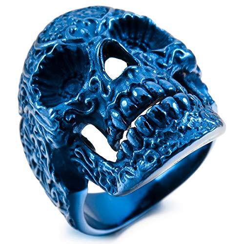 MunkiMix Acero Inoxidable Anillo Ring Azul Cráneo Calavera Flor Flower Talla Tamaño 20 Hombre