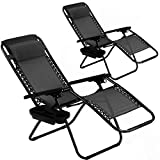 BMS Zero Patio Set of 2 Folding Outdoor Anti Gravity Lounge Reclining...