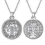 Silvora Medalla San Benito Collar Plata 925 Mujeres Hombres Colgante Medalla...
