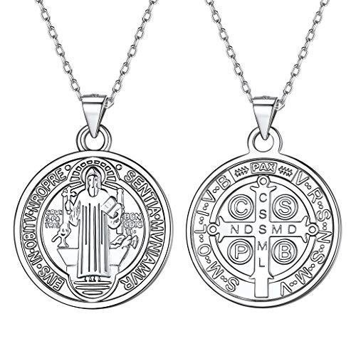 Silvora Medalla San Benito Abad Plata y Cruz Hombre Collar Plata 925 Mujeres Hombres Medalla bendecida