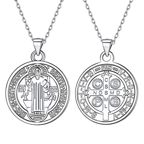 Silvora Medallas San Benito Collar Plata 925 Monedas Preciosas Milagrosa San Cristobal para Hombres Mujeres Gratis Caja de Regalo